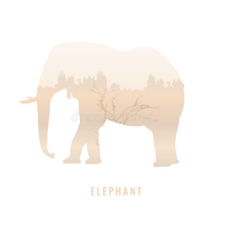 Силуэт слона внутри соснового леса, яркие цвета иллюстрация вектора