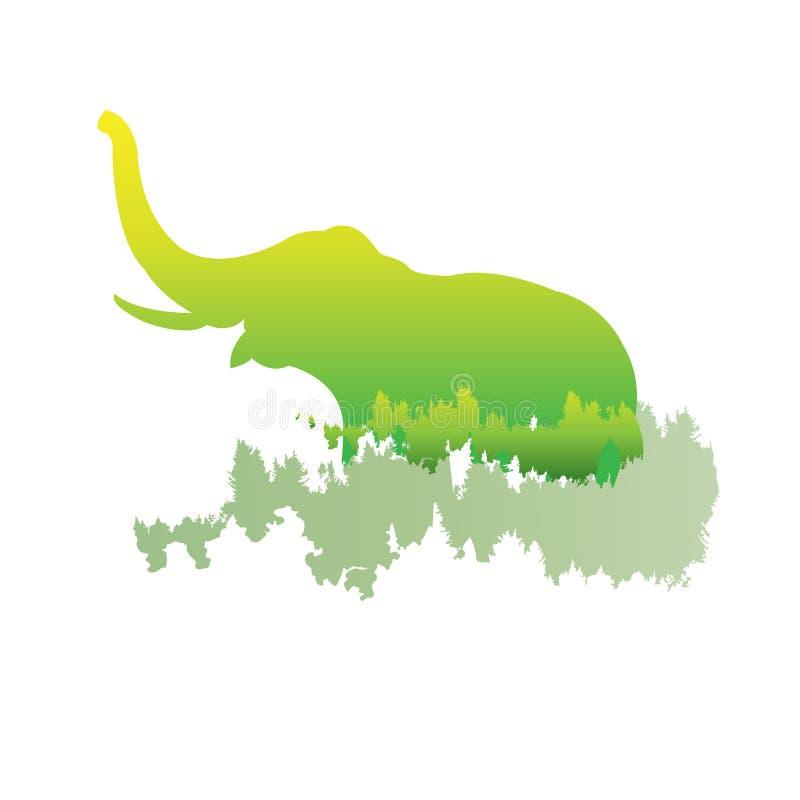 Силуэт слона внутри соснового леса, яркие цвета иллюстрация штока