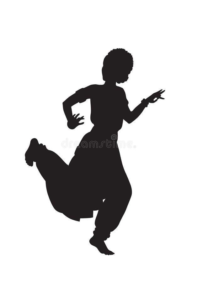 Силуэт танцевать индийская девушка иллюстрация штока