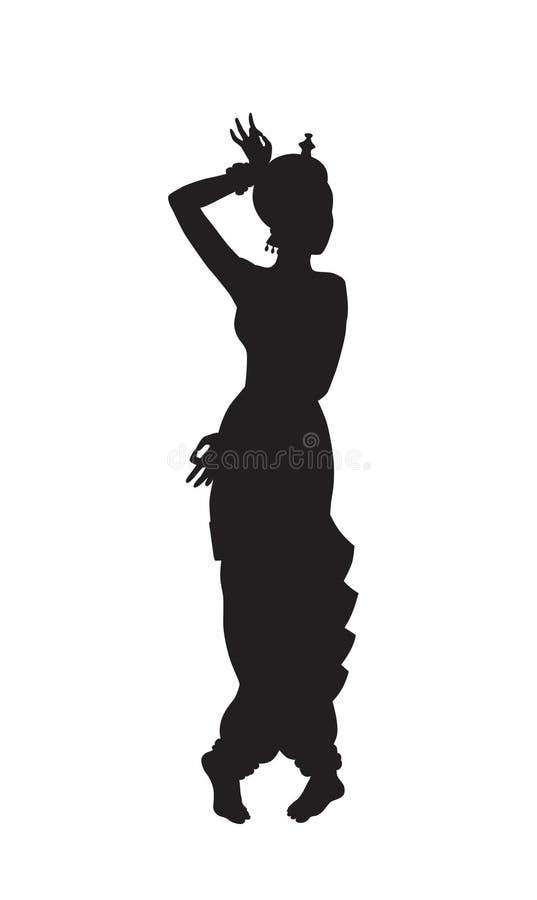Силуэт танцевать индийская девушка иллюстрация вектора