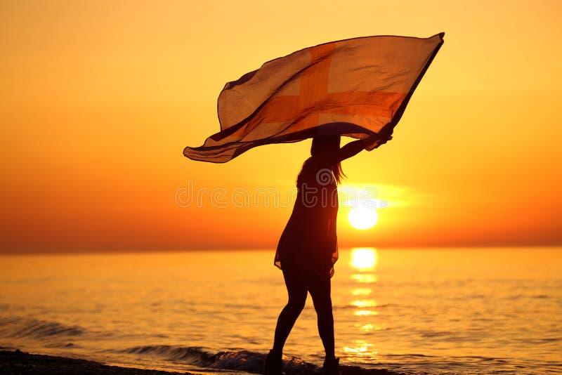 Силуэт танцев дамы с флагом стоковая фотография rf