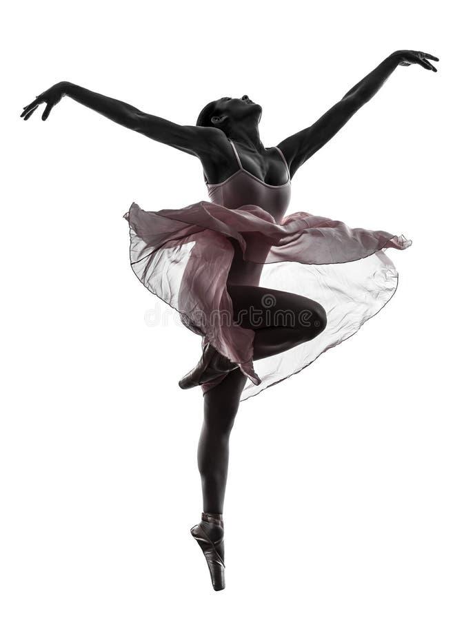 Силуэт танцев артиста балета балерины женщины стоковые фотографии rf