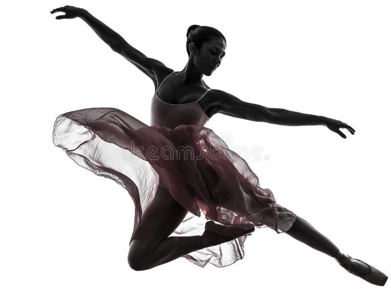 Силуэт танцев артиста балета балерины женщины стоковое изображение rf