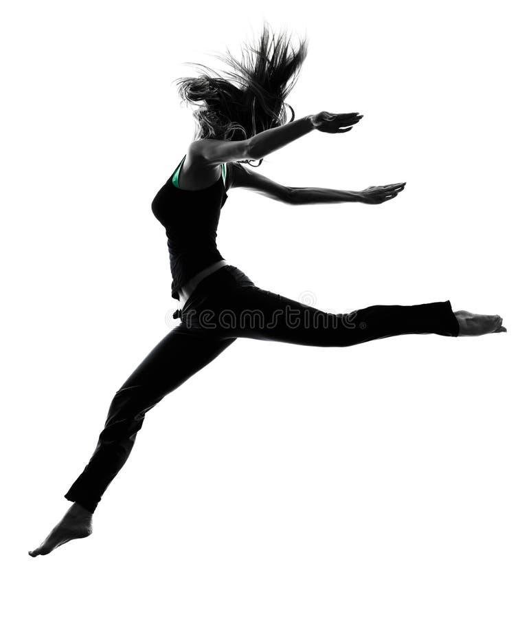 Силуэт танцев танцора женщины стоковые изображения rf