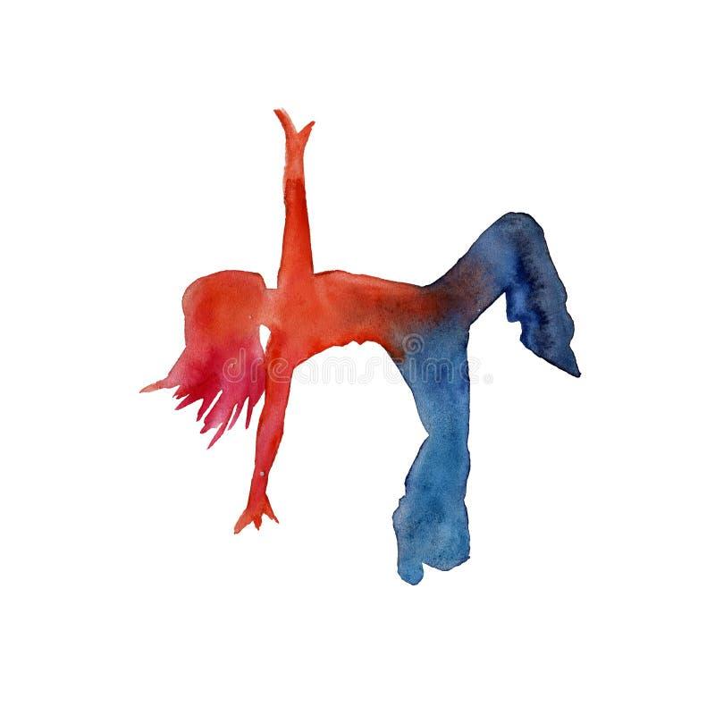 Силуэт танцора бедр-хмеля акварель бесплатная иллюстрация