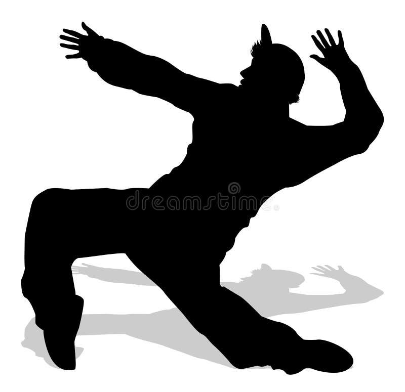 Силуэт танцора в тазобедренном хмеле иллюстрация вектора