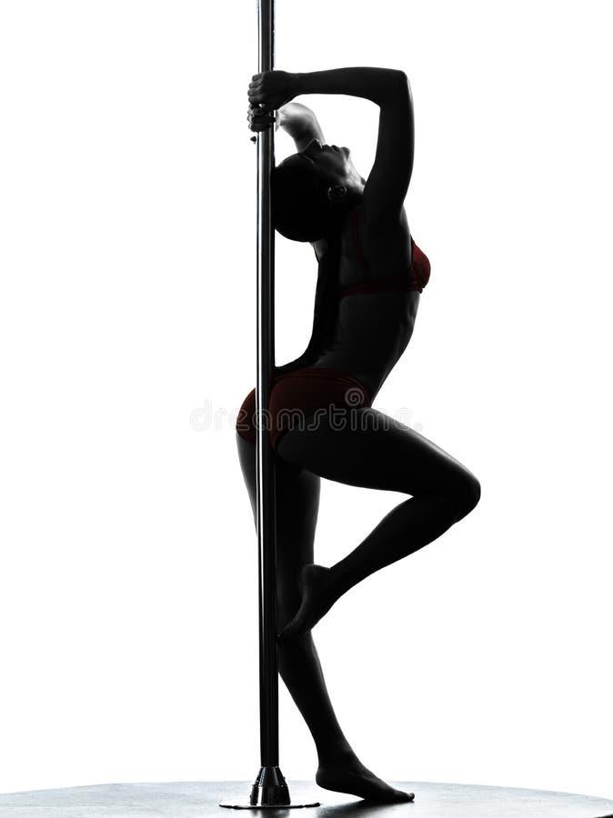 Силуэт танцора поляка женщины стоковое изображение
