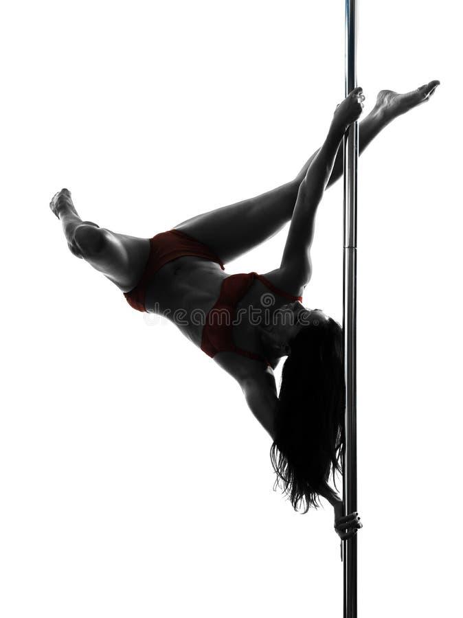 Силуэт танцора поляка женщины стоковые фотографии rf