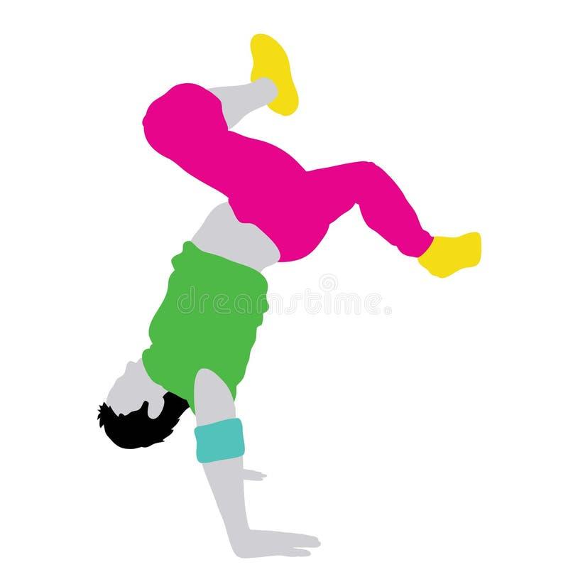 Силуэт танцора пролома мужской деятельности иллюстрация штока
