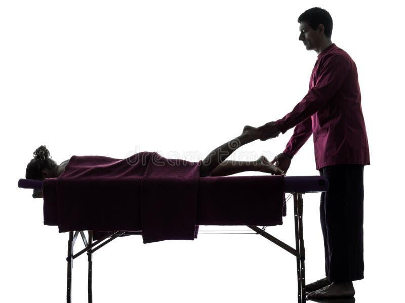 Силуэт терапией массажа ног ног стоковое изображение