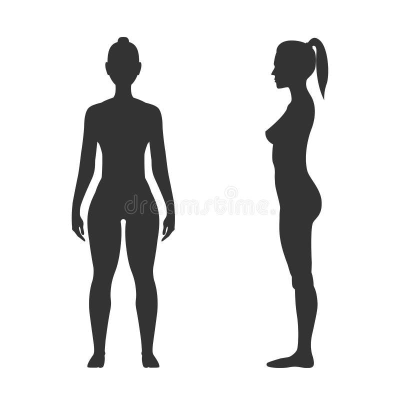 Силуэт, фронт и взгляд со стороны женщины черные иллюстрация штока