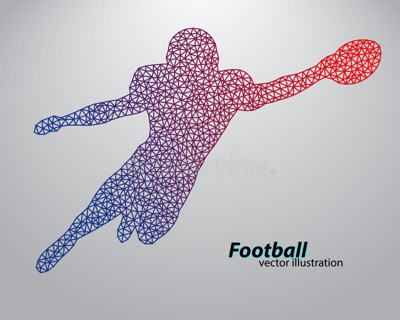 Силуэт футболиста от треугольника рэгби американский футболист иллюстрация вектора