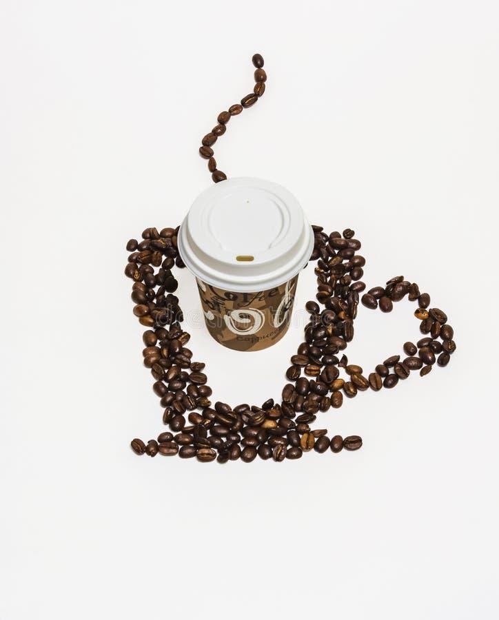 Download Силуэт чашки кофе на белой предпосылке и бумаге Стоковое Изображение - изображение насчитывающей питье, aiders: 81801135