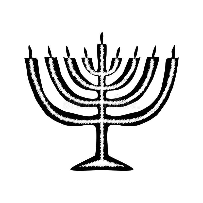 Силуэт черноты свечи Chanukah Еврейский религиозный праздник Хануки Иллюстрация вектора на предпосылке