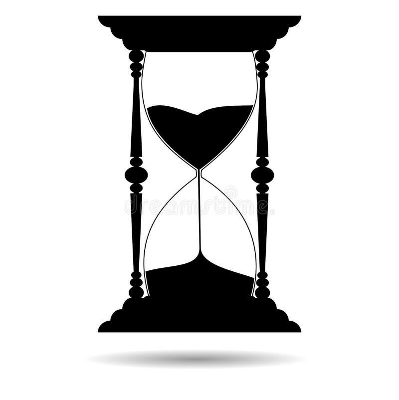 Силуэт черноты часов песка - иллюстрация бесплатная иллюстрация