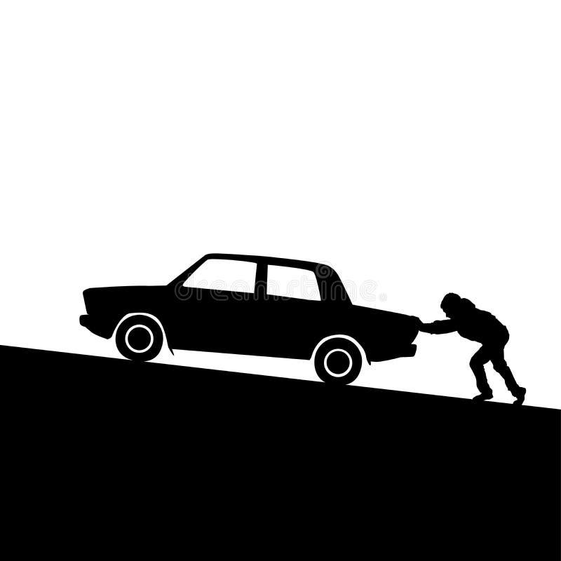 Силуэт человека нажимая автомобиль стоковые фотографии rf