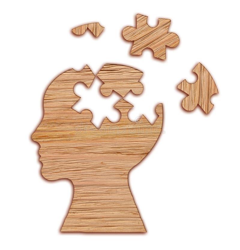 Силуэт человеческой головы, символ психических здоровий Головоломка иллюстрация штока