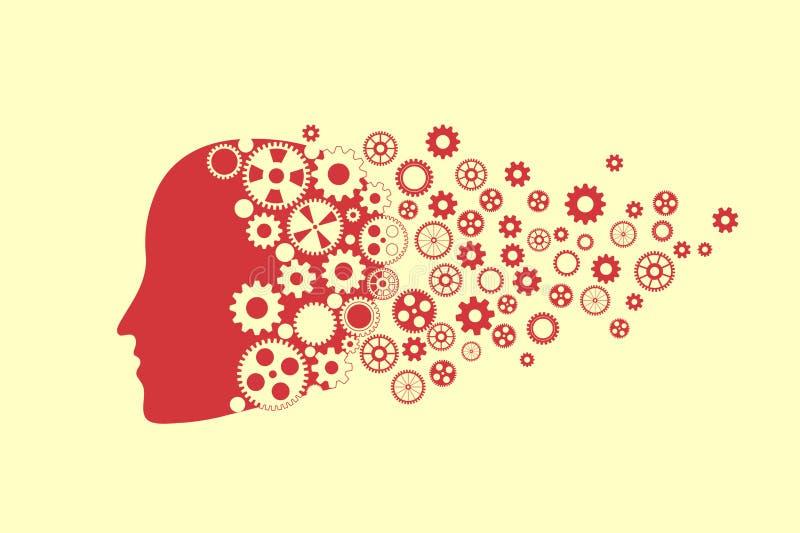 Силуэт человеческой головы с комплектом шестерни бесплатная иллюстрация