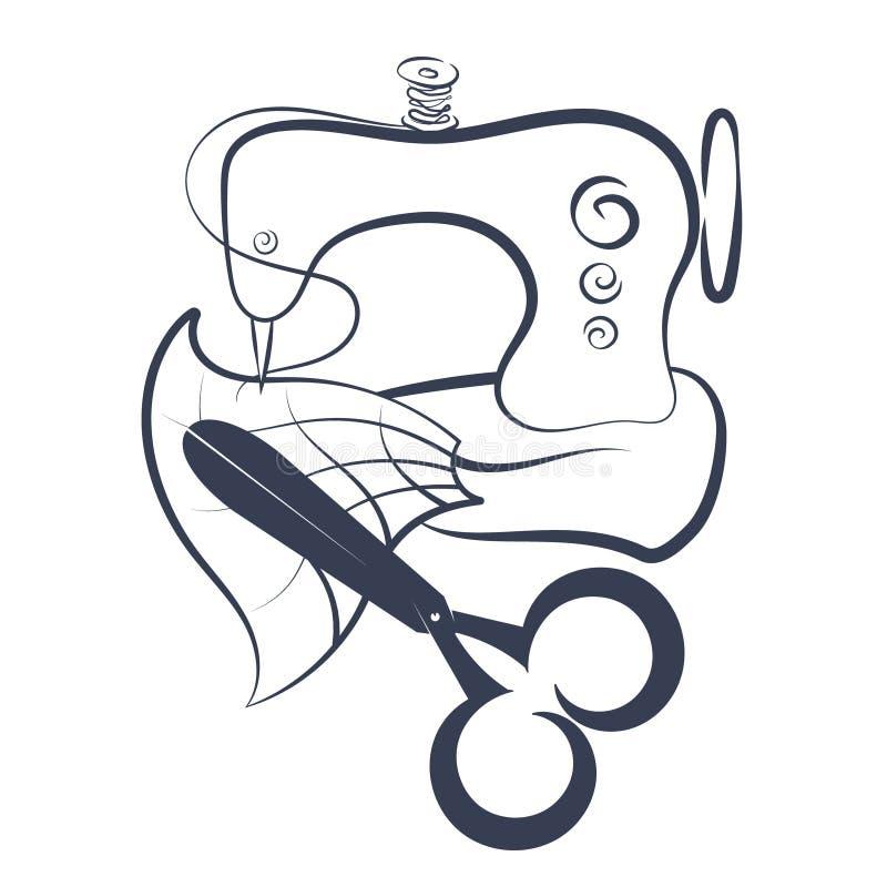 Силуэт швейной машины и ножниц иллюстрация вектора