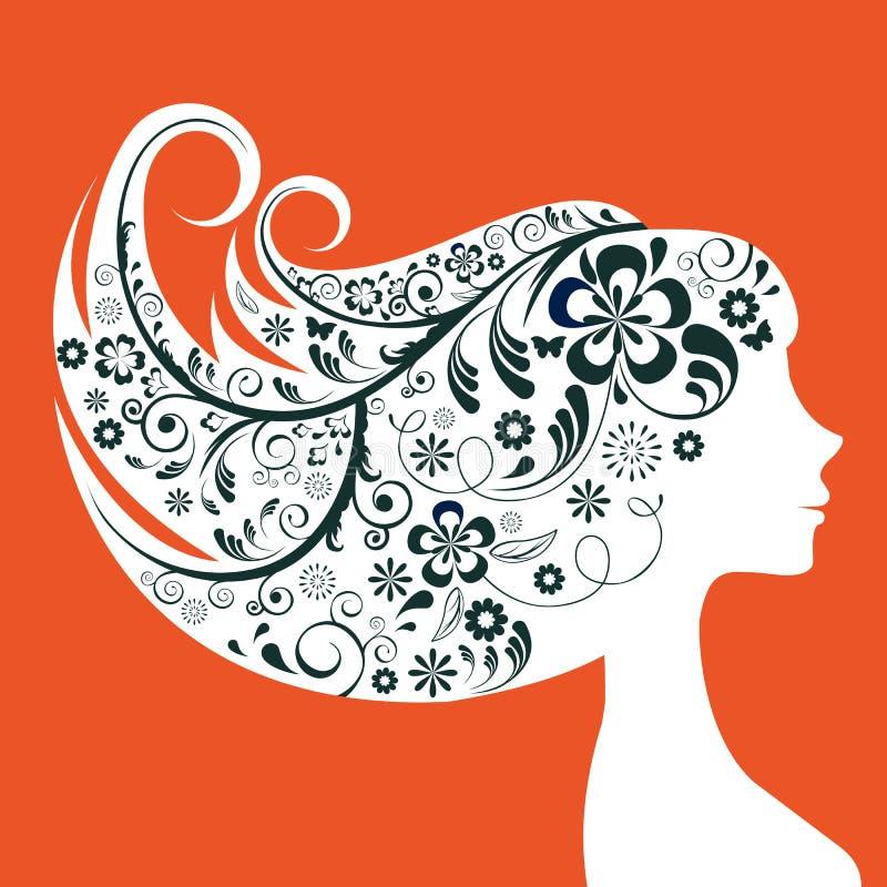 Силуэт элегантной женщины флористический иллюстрация вектора