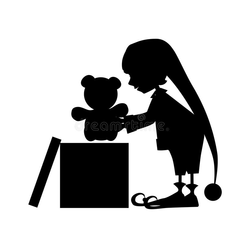 Силуэт эльфа Christamas милый с подарком бесплатная иллюстрация