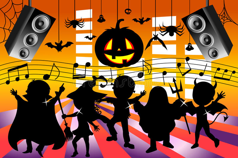Силуэт ягнится танцуя партия хеллоуина иллюстрация вектора