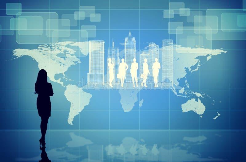 Силуэт Businesswomans с виртуальным городом стоковые фотографии rf