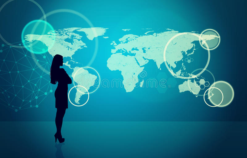 Силуэт Businesswomans с молекулой иллюстрация вектора