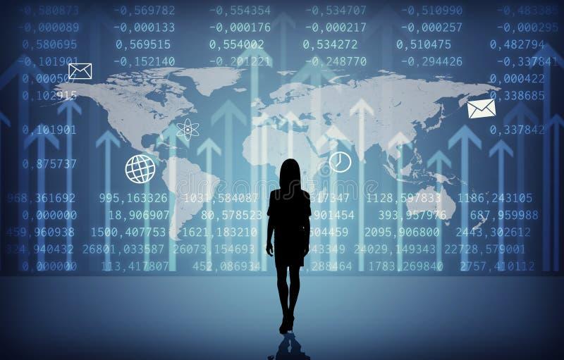 Силуэт Businesswomans с символами бесплатная иллюстрация