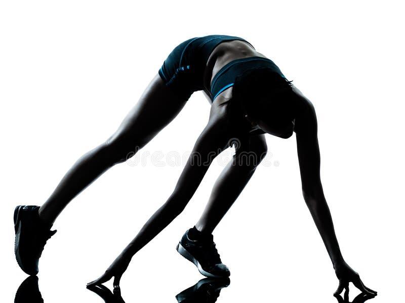 Силуэт jogger бегуна женщины стоковая фотография rf