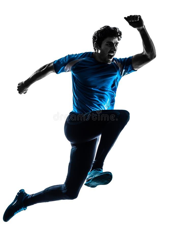 Силуэт jogger спринтера бегуна человека крича стоковая фотография rf