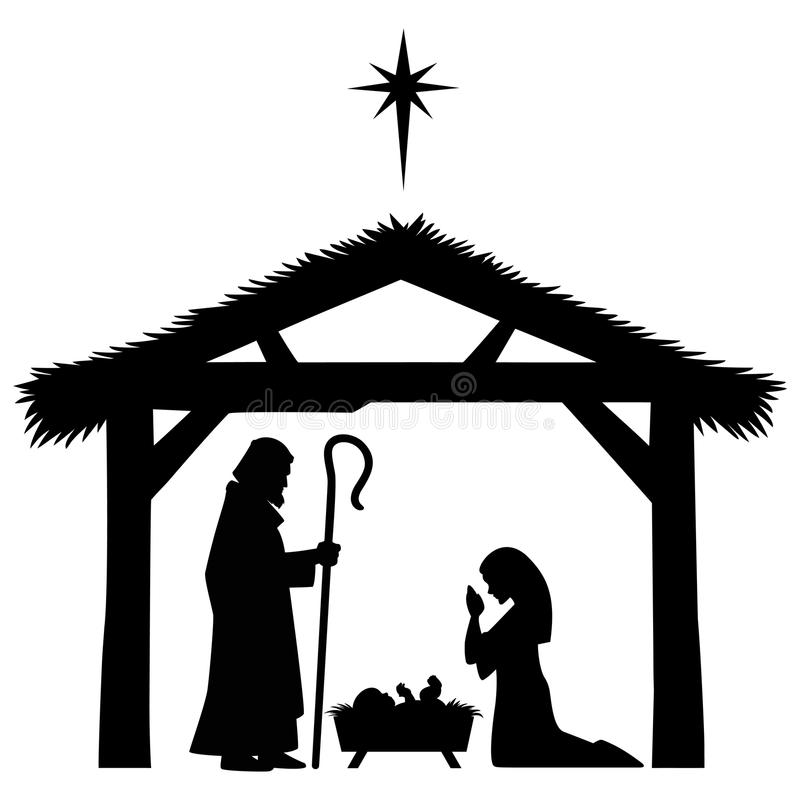 Силуэт Mary, Иосиф и Иисуса иллюстрация вектора