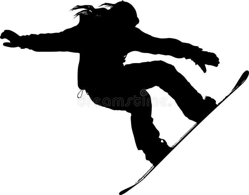 Силуэт Snowboarder стоковые фотографии rf