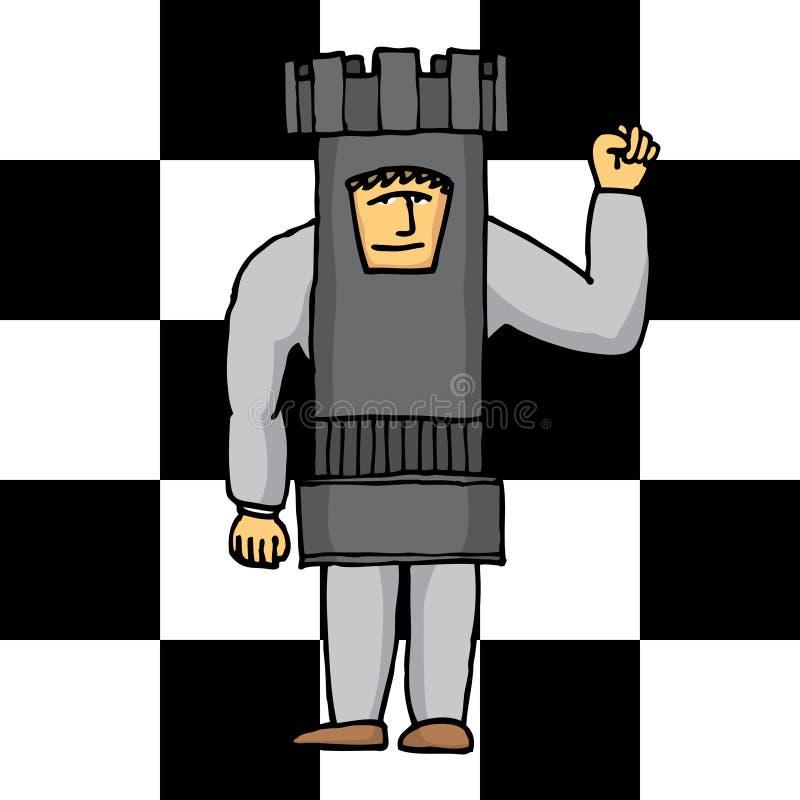Людская башня шахмат иллюстрация вектора