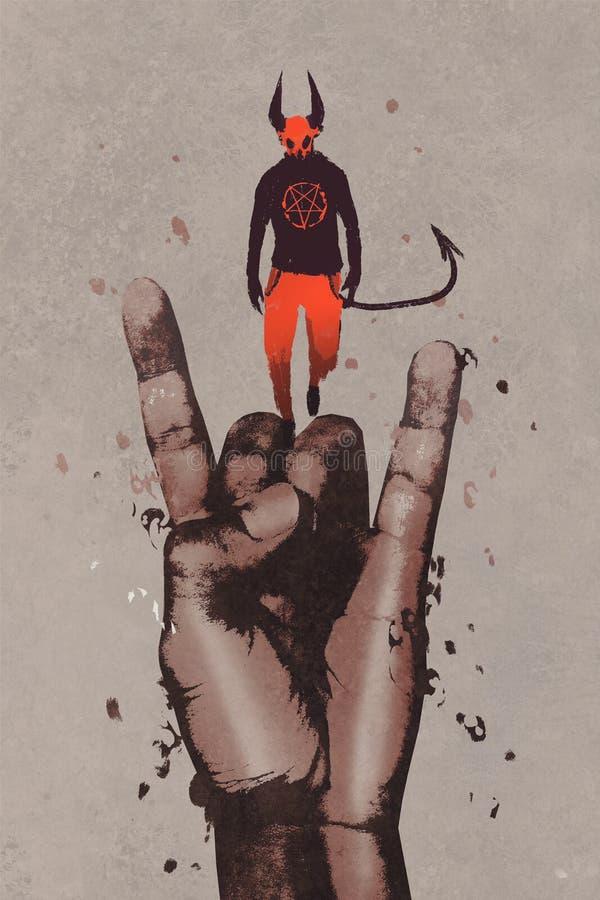 Сильная рука в знаке рожков дьявола с дьяволом иллюстрация вектора