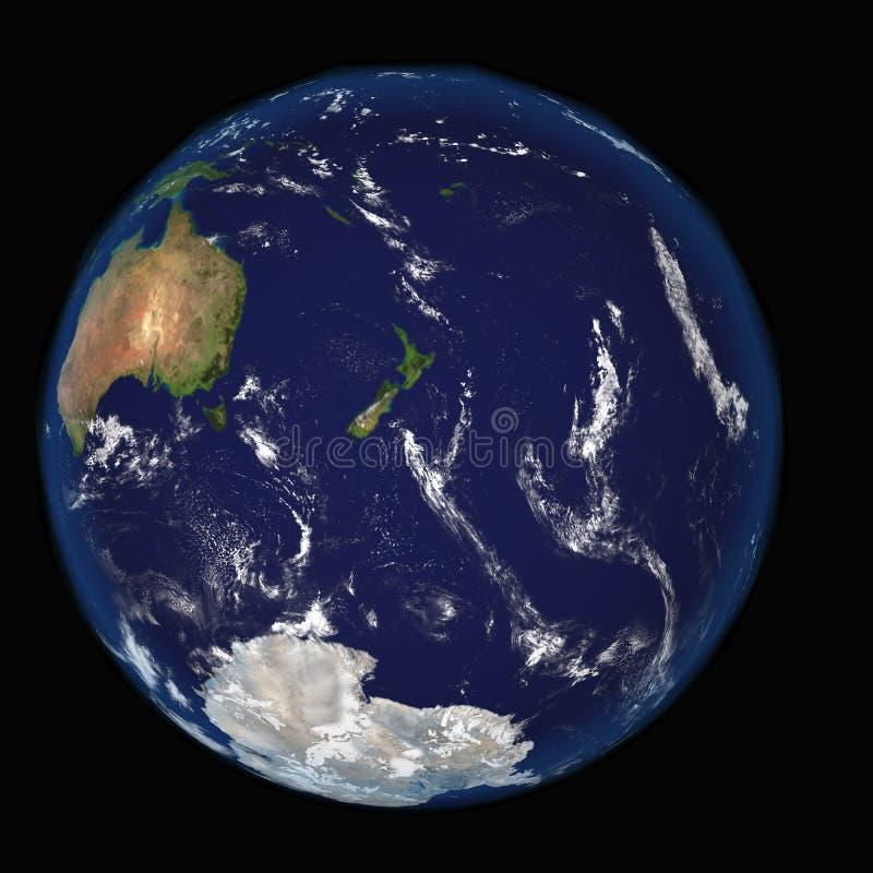 Сильно детальная земля планеты Преувеличенный точный сброс загорен восходящим солнцем от восточной части Тихого океана бесплатная иллюстрация