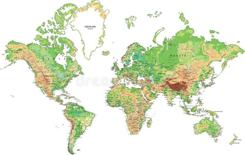Сильно детальная физическая карта мира иллюстрация вектора