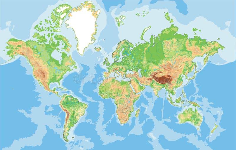 Сильно детальная физическая карта мира бесплатная иллюстрация