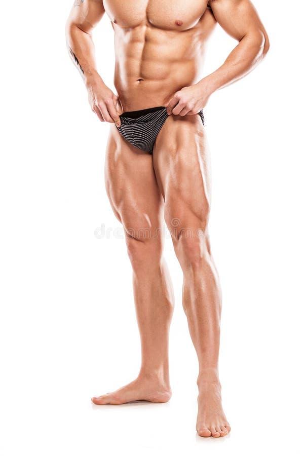 Сильный атлетический торс модели фитнеса человека показывая нагой мышечный b стоковое изображение rf