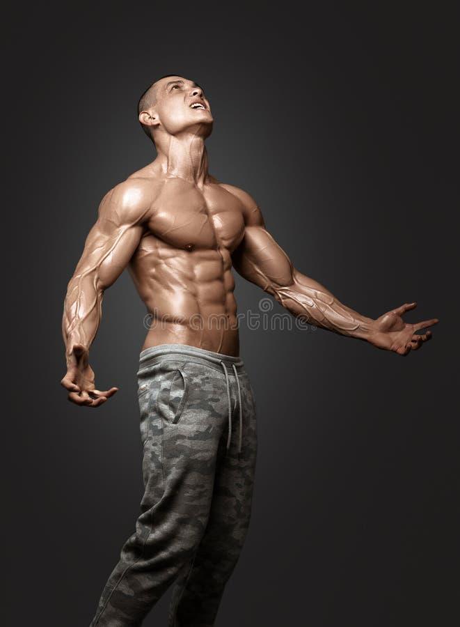 Сильный атлетический торс модели фитнеса человека показывая 6 abs пакета стоковые изображения rf
