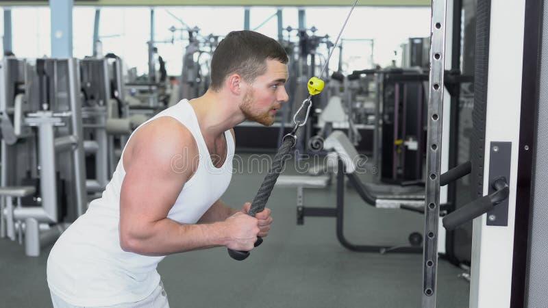 Сильный атлетический человек в футболке на тренировке спортзала на приборе блока Тренировка CrossFit стоковое изображение rf