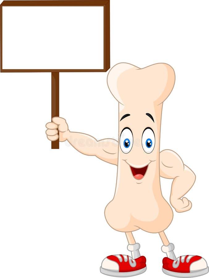Сильный персонаж из мультфильма косточки держа пустой знак иллюстрация вектора