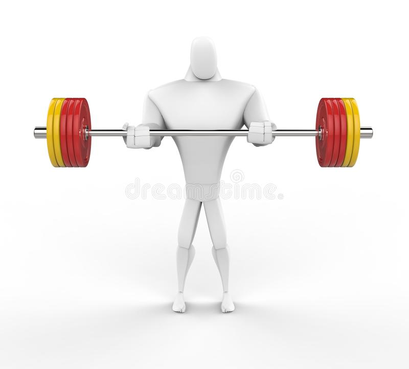 сильный характер 3D поднимая тяжелые весы иллюстрация штока