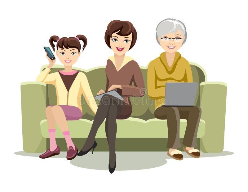 Сидя женщины на кресле с устройствами иллюстрация вектора