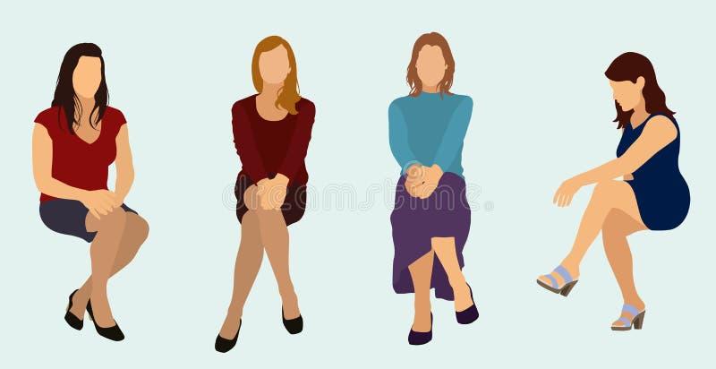 Сидя женщины бесплатная иллюстрация