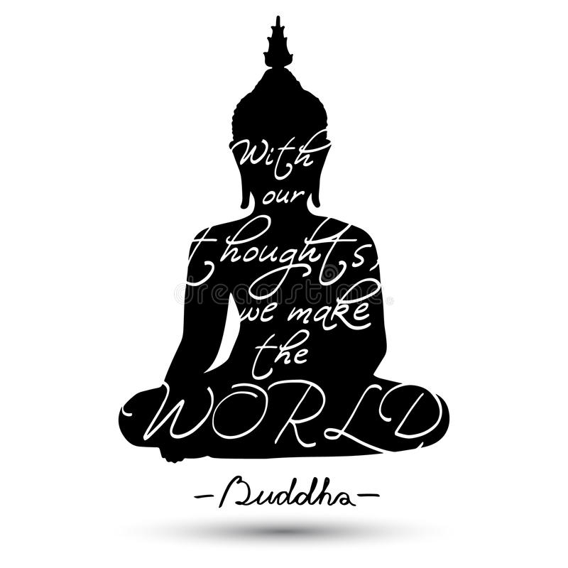 Сидя силуэт Будды иллюстрация штока