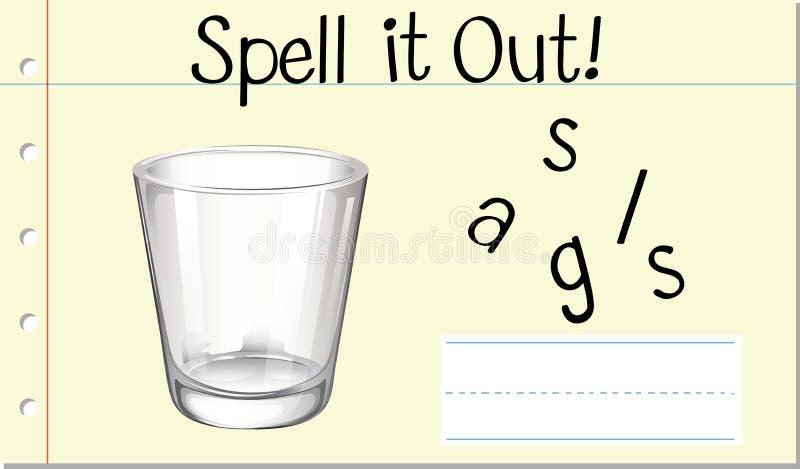 Скажите английское стекло по буквам слова иллюстрация вектора