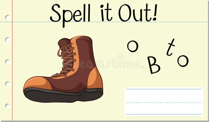Скажите его по буквам вне boot иллюстрация вектора