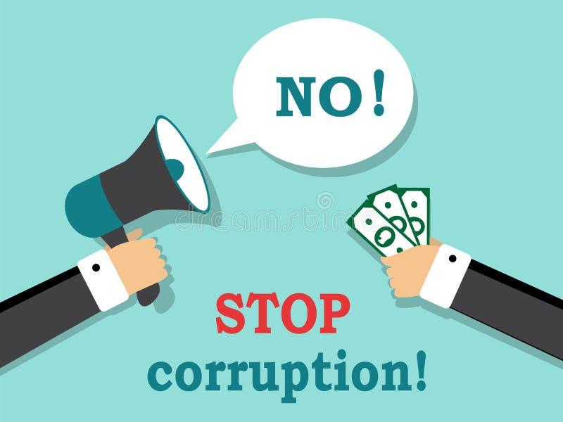 Скажите нет к коррупции и взяточничеству бесплатная иллюстрация