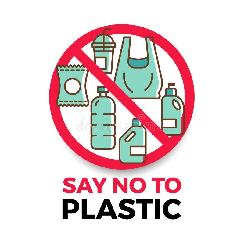 Скажите нет к пластиковому знамени с пластиковым значком в красном дизайне вектора круга стопа иллюстрация штока